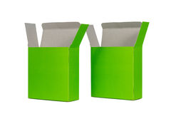 Two green Box with lid open or green paper package box isolated Royalty Free Stock Photos