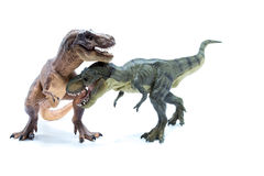 Two Green and Brown Dinosaur Tyrannosaurus fighting and biting - Royalty Free Stock Images
