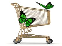 Two green butterfly sitting on a basket Royalty Free Stock Photography
