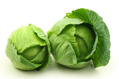 Two Green cabbages. Isolated on white background Royalty Free Stock Photo