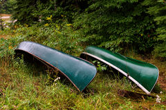 Two green canoes Royalty Free Stock Photography