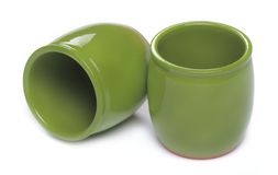 Two green ceramic jars Stock Images