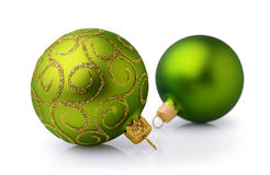Two green Christmas balls Royalty Free Stock Photography