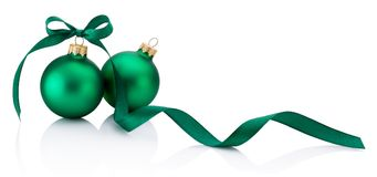 Two Green Christmas bauble with ribbon bow isolated on white background. Two Green Christmas bauble with ribbon bow isolated on a white background stock photos