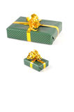 Two green christmas gifts Royalty Free Stock Photography