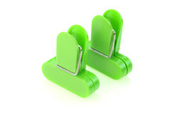 Two green clips Stock Image