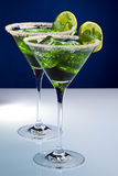 Two green cocktails with lime and mint Stock Photo