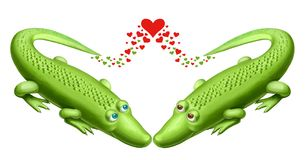 Two green crocodile Royalty Free Stock Photo