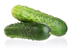 Two green cucumber isolated on white Royalty Free Stock Photography