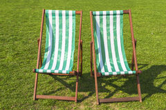 Two green deck chairs Royalty Free Stock Image