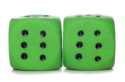 Two green dice cutout Stock Image