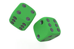 Two green dice. Isolated on white background Royalty Free Stock Photos