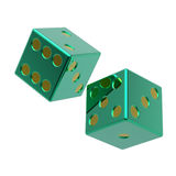 Two green dices isolated on white. Computer generated 3D photo rendering Royalty Free Stock Images