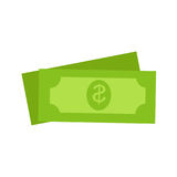 Two Green Dollars United States Money Icon Set. On white background. Vector illustration of drawings dollar bills. Sign of buck. Concept in cartoon style for Stock Images