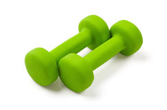 Two green dumbbell Stock Images