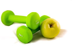 Two green dumbbells Royalty Free Stock Photos