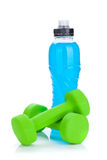Two green dumbells and water bottle Stock Images
