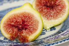 Two green fig halves with juicy red seeds. Closeup of two green fig halves with juicy red centres on a blue and white plate Stock Image