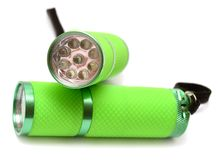 Two green flashlight Royalty Free Stock Images