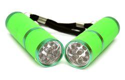 Two green flashlight Royalty Free Stock Photography