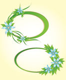 Two green floral frames. With stylish flowers Stock Photography