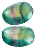Two green Fluorite (fluorspar) gemstones Stock Photos