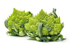Two Green Fresh Romanesque Cauliflower Royalty Free Stock Photos