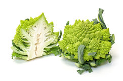 Two Green Fresh Romanesque Cauliflower Stock Photo