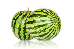 Two green fresh Watermelons Stock Photos