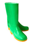 Two green gumboots. For work in a garden on a white background Royalty Free Stock Images