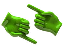 Two green hands with pointing fingers Stock Photo