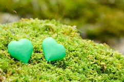 Two green heart objects Stock Images