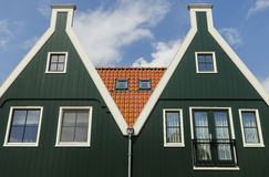 Two green houses in Volendam Stock Photo