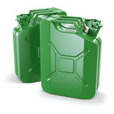 Two green jerry cans Stock Images
