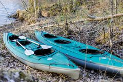 Two green kayaks Royalty Free Stock Images
