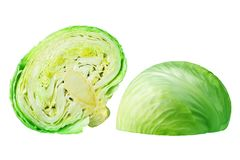Two green leafy cabbage halves on white background isolated close up, cutted pieces of ripe white cabbage head. Fresh sliced vegetable design element, organic stock photography