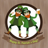 Two green Leprechaun with beer and  Irish flag celebrating Saint Patricks Day Royalty Free Stock Photo
