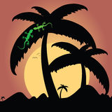 Two green lizard on palm tree illustration Royalty Free Stock Images