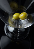 Two Green Olives Waiting Alcohol. Stock Image