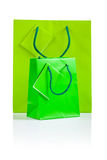 Two green paper bags isolated Stock Image