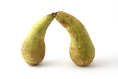 Two green pears. Two pears as the arch shape Stock Photography