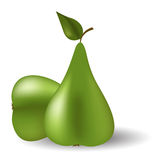 Two green pears Stock Photos
