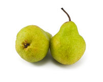 Two green pears isolated on white background. Two wet green pears isolated on white background Royalty Free Stock Photos