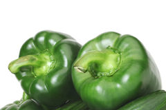 Two green peppers. Stock Images