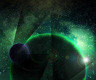 Two Green Planets Cosmic Background Stock Image