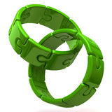 Two green puzzle rings. 3d illustration of two green puzzle rings Stock Images