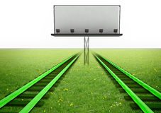 Two green railroads with blank billboard Royalty Free Stock Image
