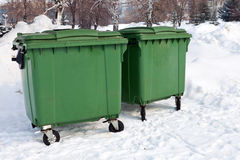 Two green recycling containers Royalty Free Stock Photo