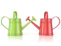 Two green and red 3D renders watering can. White background. Side view Stock Photography