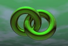 Two green rings in green sky. Two green rings in green cloudy sky Stock Photo